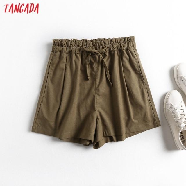 Tangada 2021 Summer Women Vintage Cotton Linen Shorts with Slash Pockets Female Retro Casual Shorts Pantalones 2E18 2