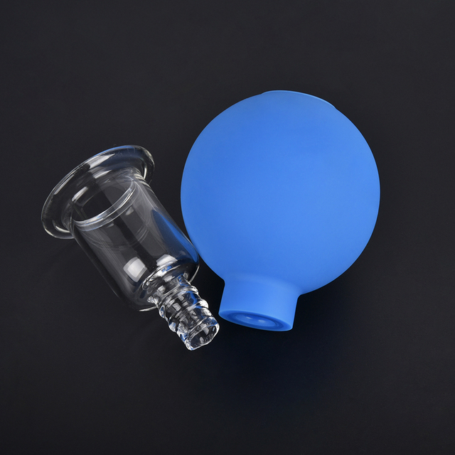 2/4Pcs Set Vacuum Cupping Cups PVC Head Glass Cups Face Body Massage Meridian Acupuncture Chinese Medical Therapy Massage Jars 1