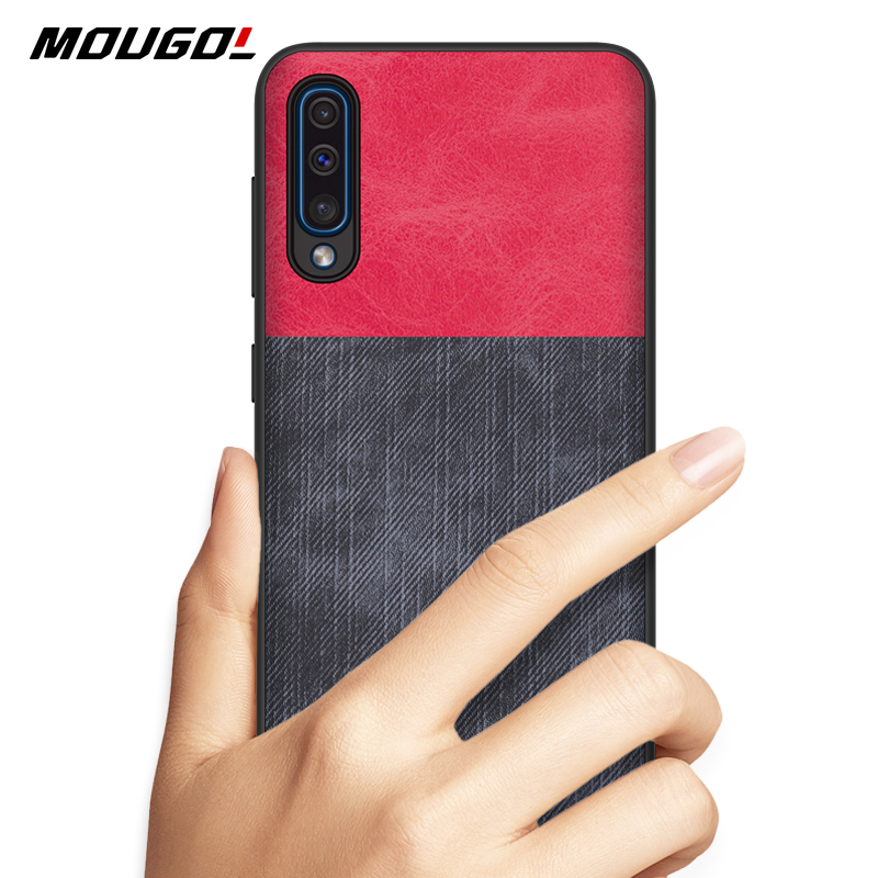 For Samsung Galaxy A50 Phone Case Cover Denim Cloth Fabric Silicone Soft Edge Protect Case For Samsung Galaxy A50 Case Funda