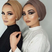 1 PC בועה רגיל צעיף נשים המוסלמי להתקמט חיג אב צעיף femme musulman רך כותנה כיסוי ראש אסלאמי חיג אב וכורכת
