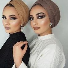 1 Pc Bubble Effen Sjaal Vrouwen Moslim Kreuk Hijab Sjaal Femme Musulman Zachte Katoenen Hoofddoek Islamitische Hijab Sjaals En Wraps