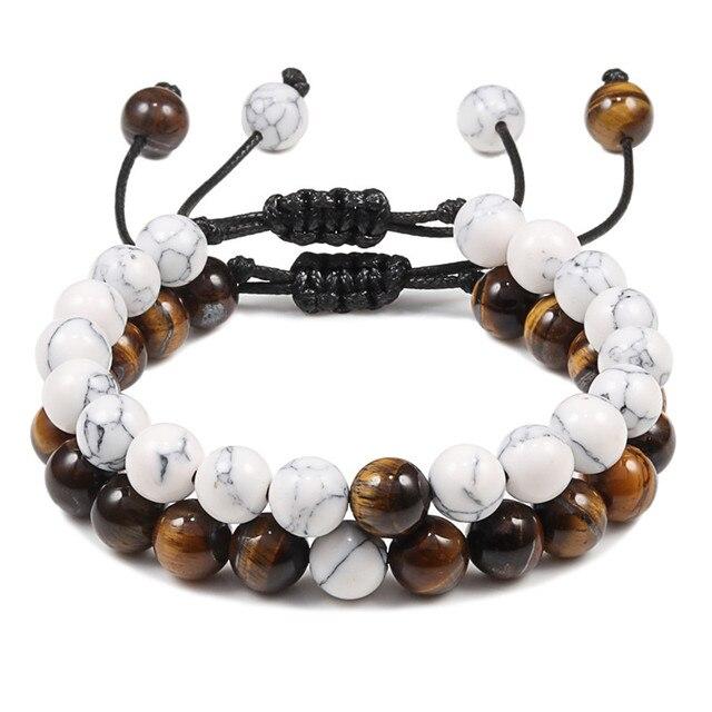 Breloque réglable noir blanc perlé Bracelets Bracelet pierre de lave oeil de tigre naturel Bracelet pour hommes femmes Couples bijoux de mode