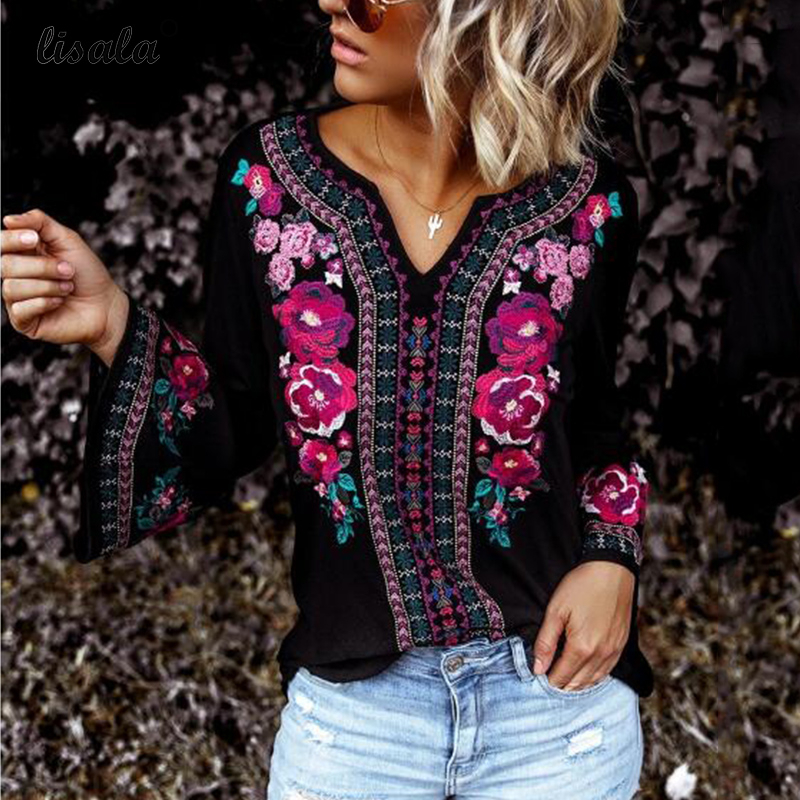 LISALA Women Floral Blouse Long Sleeve Casual Tops Ladies Tunic Flower Print Blouses Shirts