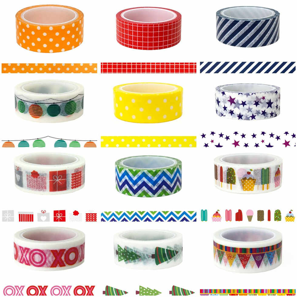 2M/5M*15MM Grid Washi Tape Japanese Paper DIY Planner Masking Tape Adhesive Tapes Stickers Decorative Stationery Tapes Wholesale