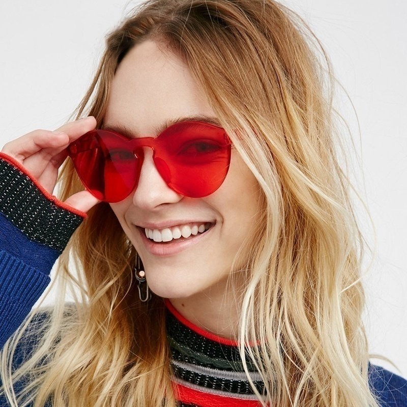 Love Heart Shape Sunglasses Women Rimless Frame Candy Color Sun Glasses Red Pink Yellow Shades Ladies Travel Accessories