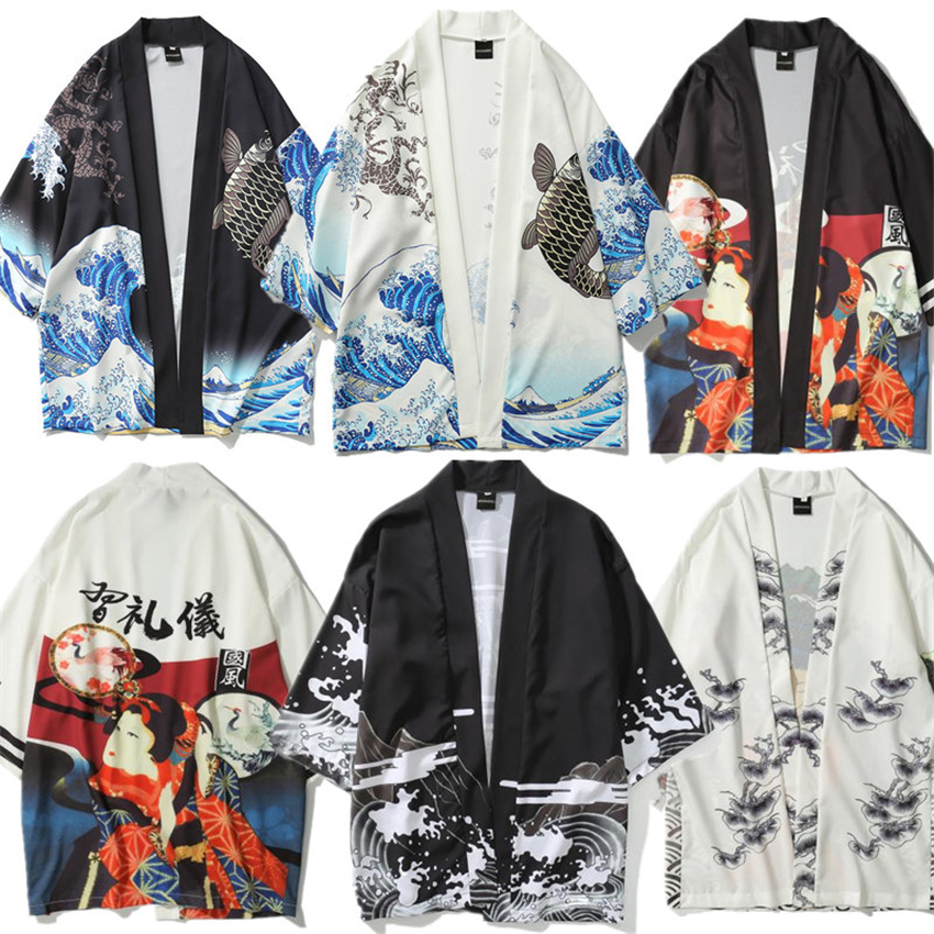 News Men Japanese Fashion Printing Shirt Kimono Cardigan Streetwear 2020 Obi Haori Traditional Asia Clothes For Man Open Shirts