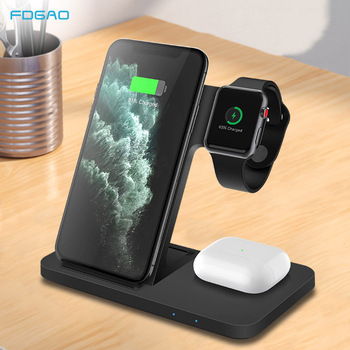 15w fast wireless charger 4 in 1 qi charging dock station for iphone 12 11 pro xs max xr x 8 apple watch se 6 5 4 3 airpods pro FDGAO 15W Qi Wireless Charger Stand 3 in 1 Fast Charging Dock Station For iPhone 11 XS XR X 8 Apple Watch SE 6 5 4 3 AirPods Pro