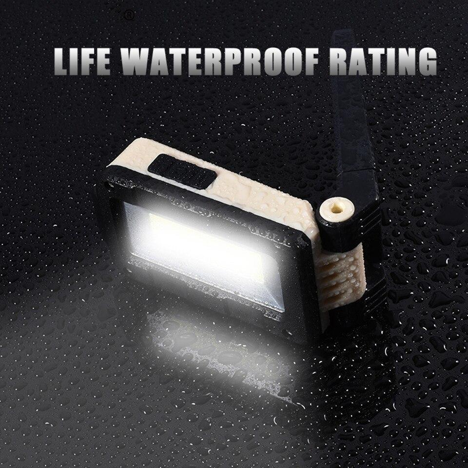 Negro Taller Linterna de Trabajo LED Recargable,Luz de Trabajo Super Brillante LED Parte Delantera de 5W COB LED con Base Ajustable Camping Autom/óviles Gancho e Im/án para Hogar Emergencia