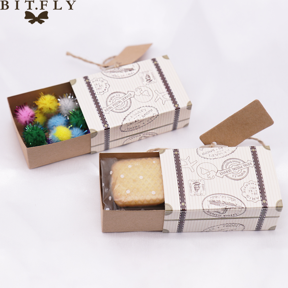 5pcs Mini Suitcase Candy Boxes Travel Gift Box Paper Wedding Birthday Christmas Favor Present Boxes Chocolate Packaging Bag