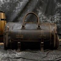 Men's Vintage Genuine Leather Travel Bag Big Crazy Horse Leather weekend Bag Casual Messenger Shoulder Bag Carry On Luggage