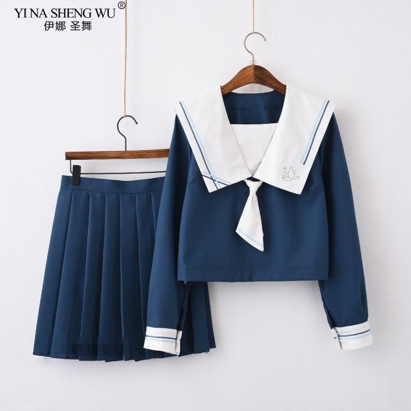 Summer Navy Blue Japanese School JK Uniforms Girls Cute Sailor Suit Top+Pleated Skirt Set Cosplay Costume Students Anime Uniform