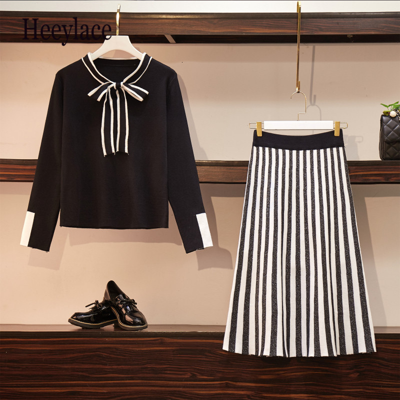Plus Size Women's Dress Autumn Winter Long Sleeve Bow Tie Striped Dress Knitted Sweater Suit Skirt Two-piece Suit Drress