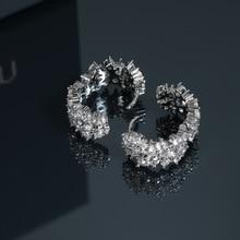 925 sterling silver earneedles diamond-encrusted delicate earbuckle earrings elegant in summer