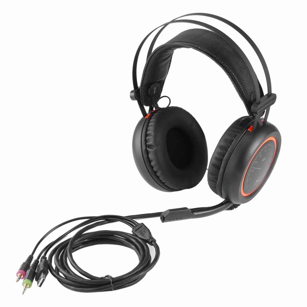 Kabel Gaming Headphone A6L USB 7.1 Stereo Surround Sound Over Telinga Permainan Headset Earphone dengan Mikrofon untuk Komputer Gamer