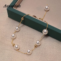 Ataullah 8mm Natural Freshwater Pearl Bracelet Genuine Silver 925 Jewelry 18K Gold Floating Pearls Chain Woman Bangles BW034