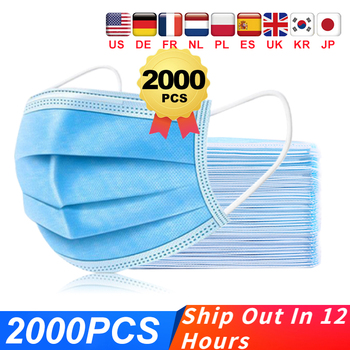 Blue Medical Mask Surgical Mask 3-Ply Anti-Dust Nonwoven Elastic Earloop Mouth Face Disposable Masks Blue