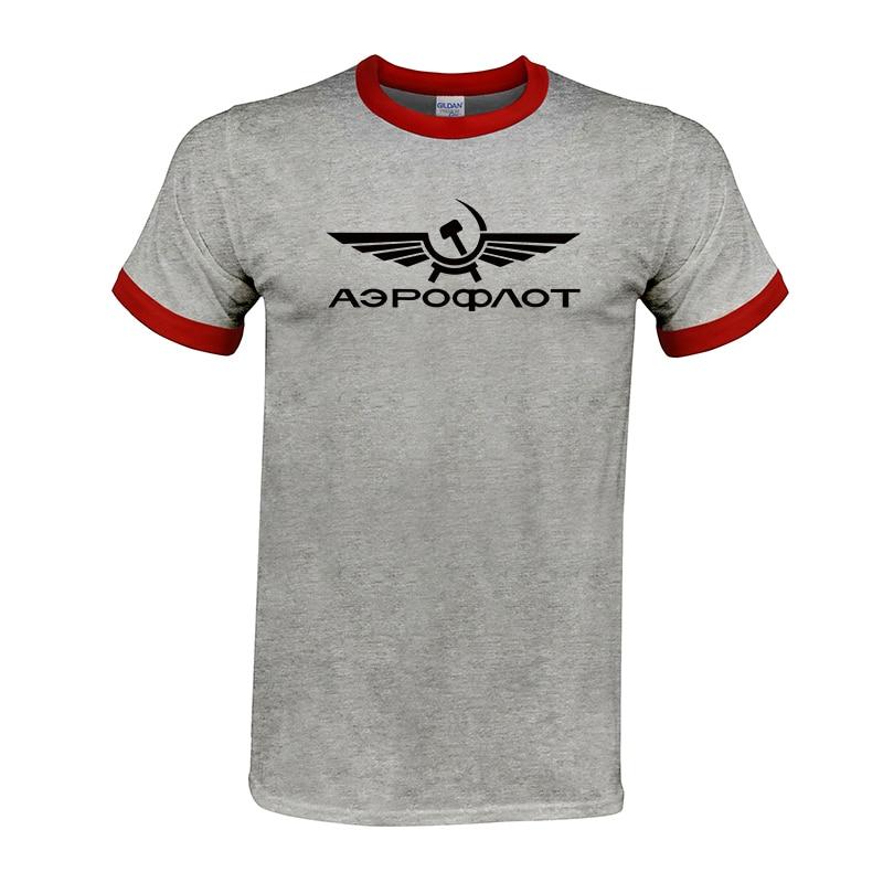 Butikowy T-shirt Aeroflot Tshirt CCCP lotnictwo cywilne drukuj T Shirt zsrr rosja AIRFORCE rosyjski najwyższej jakości mężczyźni koszulki topy
