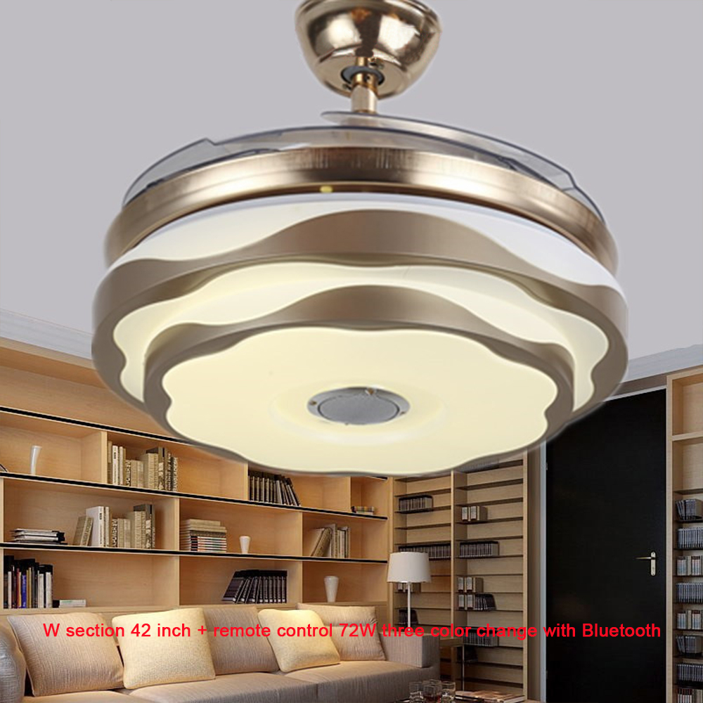 Modern 42 Inch Led Remote Control Invisible Ceiling Fans Lamp Three Colors Variable Light Bedroom Living Room Decorative Lamps