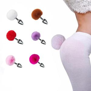 Stainless Steel Rabbit Tail Anal Plug Erotic Anus Toy Butt Plug Anal Sex Toys Adult Product for Women Men Gay