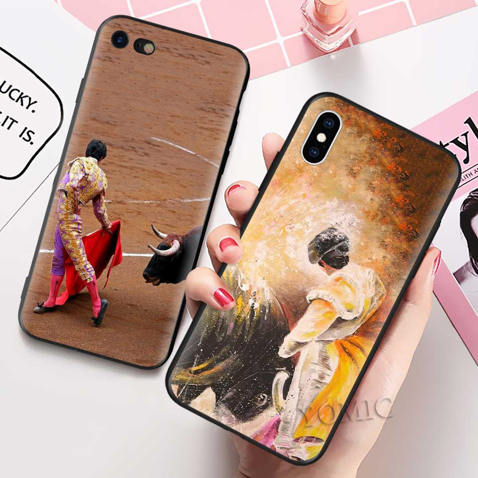 Bullfighting Spanish Bullfight Pattern Case For Apple Iphone 11 Pro XR X XS MAX 7 8 6 6S Plus 5 5S SE Black Silicone Phone Coque