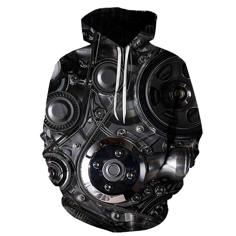 Metal Mechanical Clock 3d-printed Hoodie Rotating Mechanical Sweatshirt Hooded Casual Sports Long Sleeve Men's Fall Style