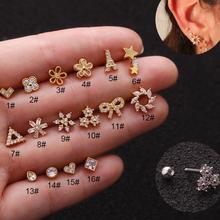 1 pc/lote cristal zircão triângulo coração flor estrela cz helix cartilagem conch rook tragus daith brinco orelha piercing jóias