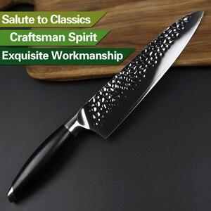 Image 4 - XINZUO coltello da cuoco da 8 coltelli da cucina in acciaio rivestito a tre strati manico G10 coltello da Barbecue Super affilato coltello da cucina