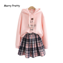 Merrt Pretty Women's Sets Peter Cartoon Bear Embroidery Hooded Sweatshirt And Plaid Pleated Skirts 2020 Spring New Two Piece Set(China)