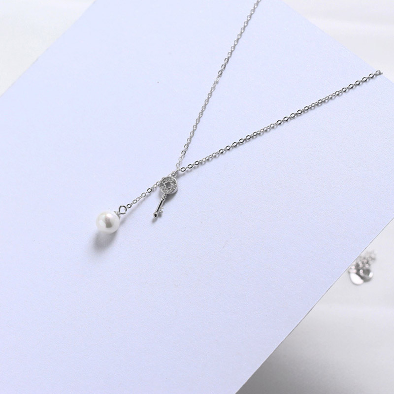 925 Sterling Silver Cubic Zircon Stone Key Pendant Necklaces For Women Statement Freshwater Pearl Long Chain Necklace Party Gift