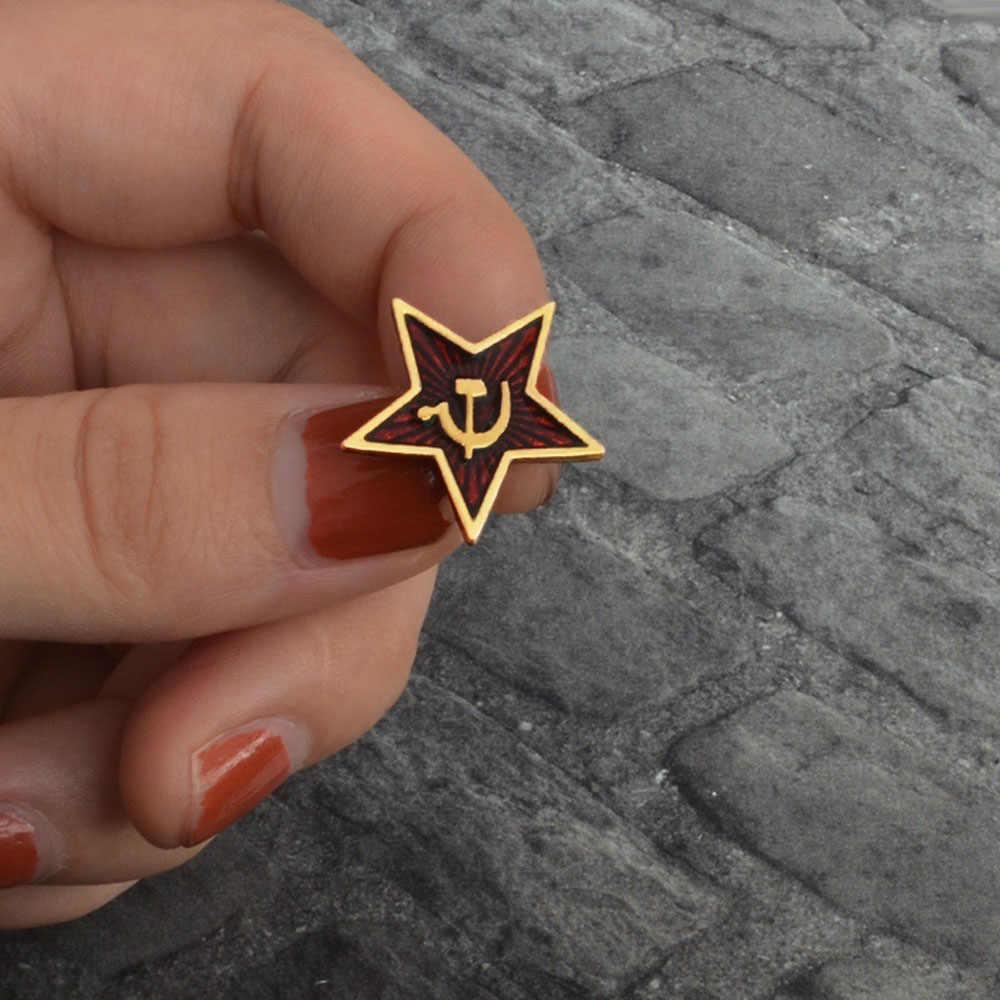 Retro Bintang Merah Palu Arit Pin Uni Soviet Simbol Enamel Pin Lencana Bros Uni Soviet Marxisme Logo Perang Dingin Perhiasan Hadiah