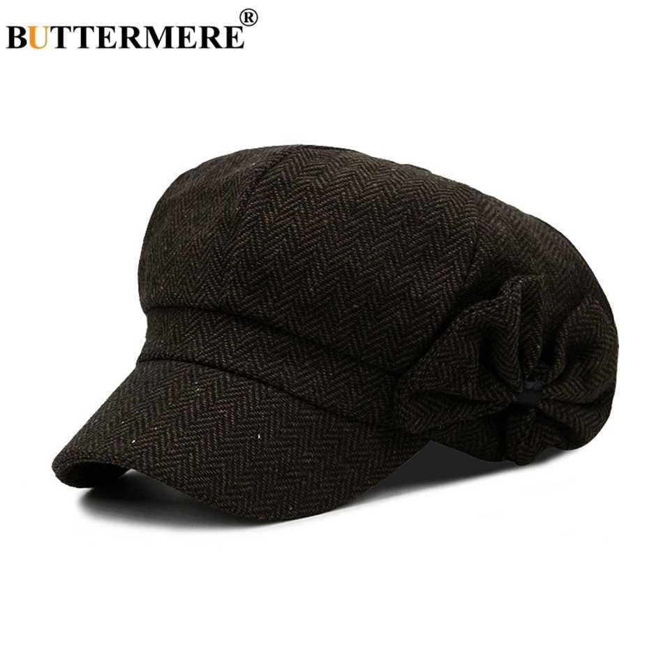 Buttermere Baker Boy หมวก Newsboy หมวกโบว์ Tweed สไตล์อังกฤษ Beret หญิงหมวก Herringbone ฤดูใบไม้ผลิจิตรกรหมวกและหมวก