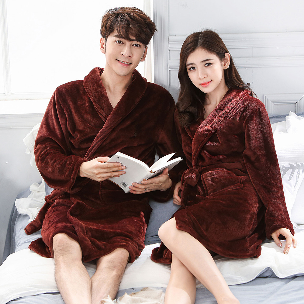Soft Sleepwear Lovers Coral Fleece Nightgown Autumn Winter Home Clothing Bathrobe Belt Pyjamas Flannel Kimono Gown Negligee