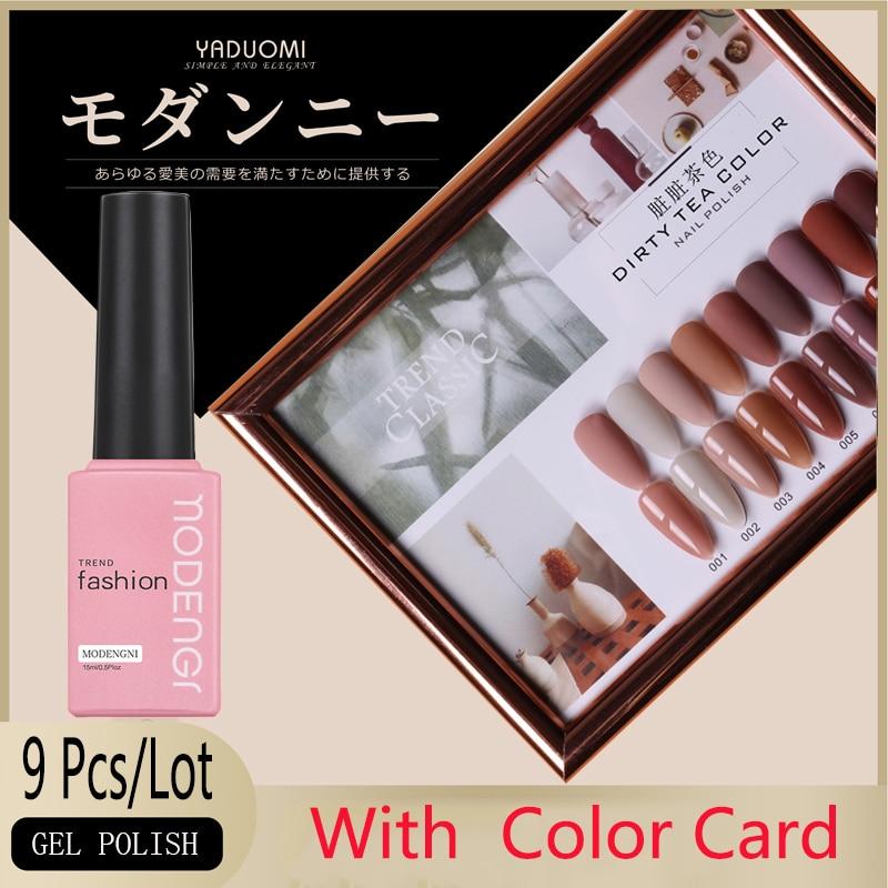 9PCS Gel Nail Polish Set 15ml Gel Polish Kit UV Gel Pure Color UV LED Nail Gel Varnish For Nail Art Gel Nail Polish With Card