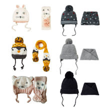 New 2pcs/set baby winter hat autumn Keep Warm Hats & Scarf Pompom Ball Knitted C