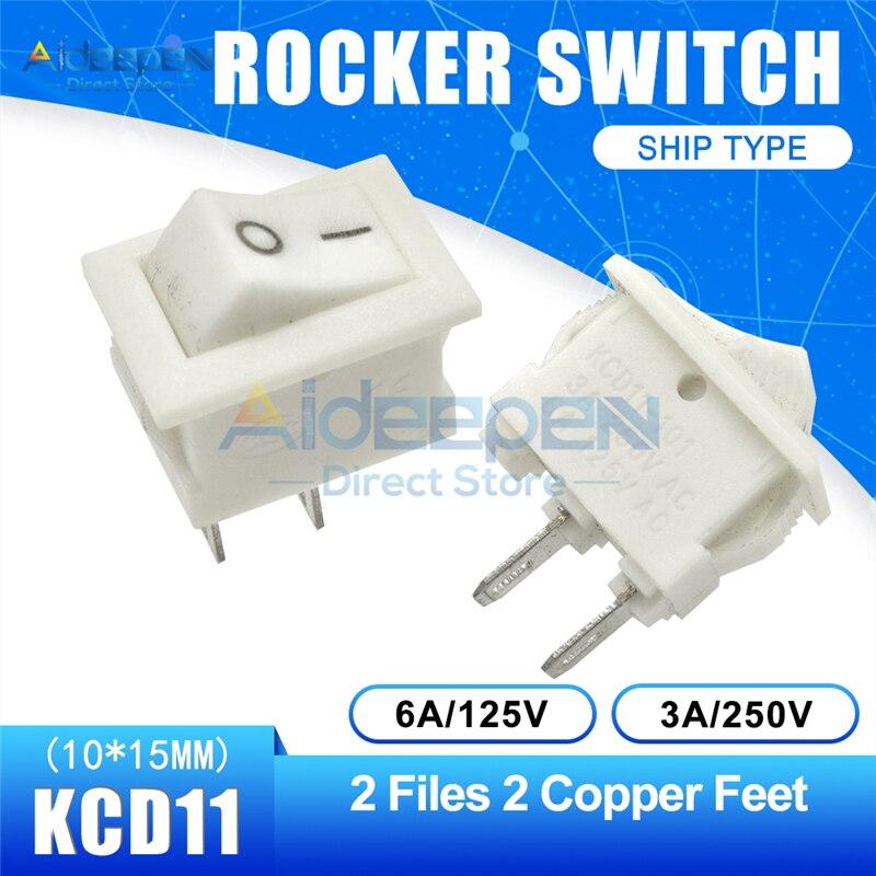 KCD11 10x15 мм кнопочный переключатель оснастка ВКЛ-ВЫКЛ 2 файла 3 файла 2/3 медные ножки лодка кулисный переключатель 10 мм* 15 мм 6A/125 В 3A/250 В - Цвет: White 2-2P Straight
