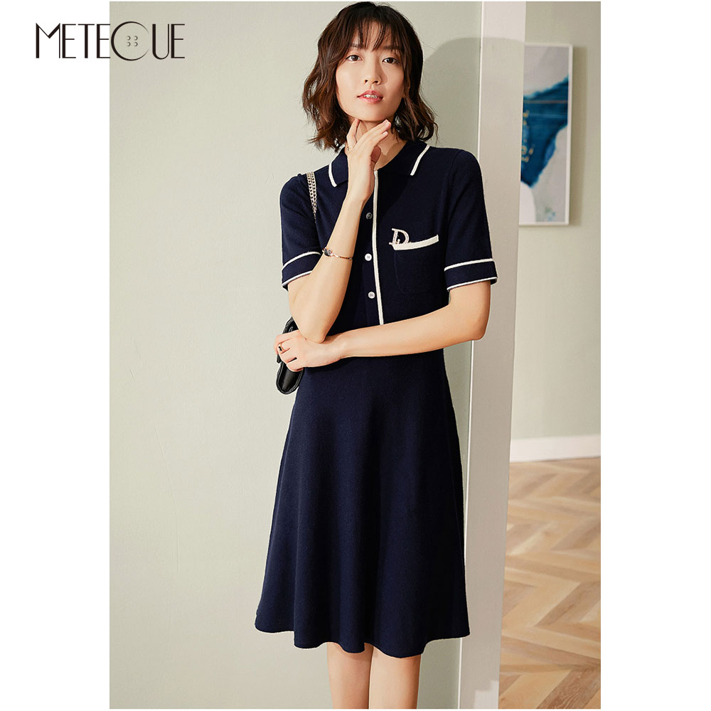 100% Cashmere Midi Dress Multi Colors 2019 Pre Fall Fashion Turn Down Collar Short Sleeve Sweater Dress 2019 Autumn Winter-in Dresses from Women's Clothing    1