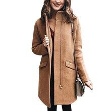 Wool Coat Women Fashion Zipper Winter Elegant Long Abrigos Mandarin Collar Casaco Feminino Causual Outerwear D25