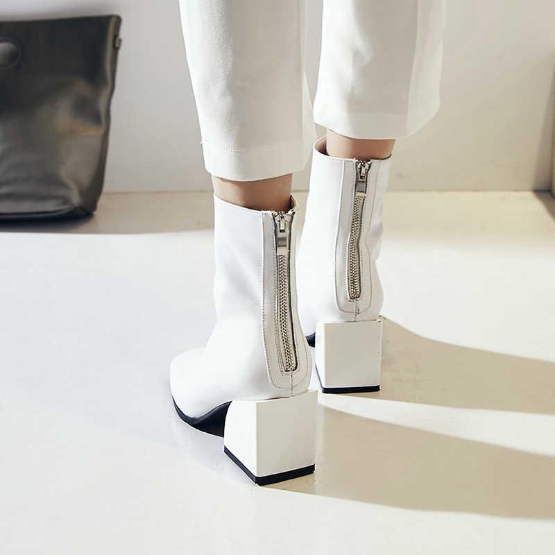 EGONERY ผู้หญิงรองเท้าหนังแท้คุณภาพสูงสแควร์ส้น Zipper Square Toe แฟชั่นสีดำและสีขาวรองเท้าข้อเท้า