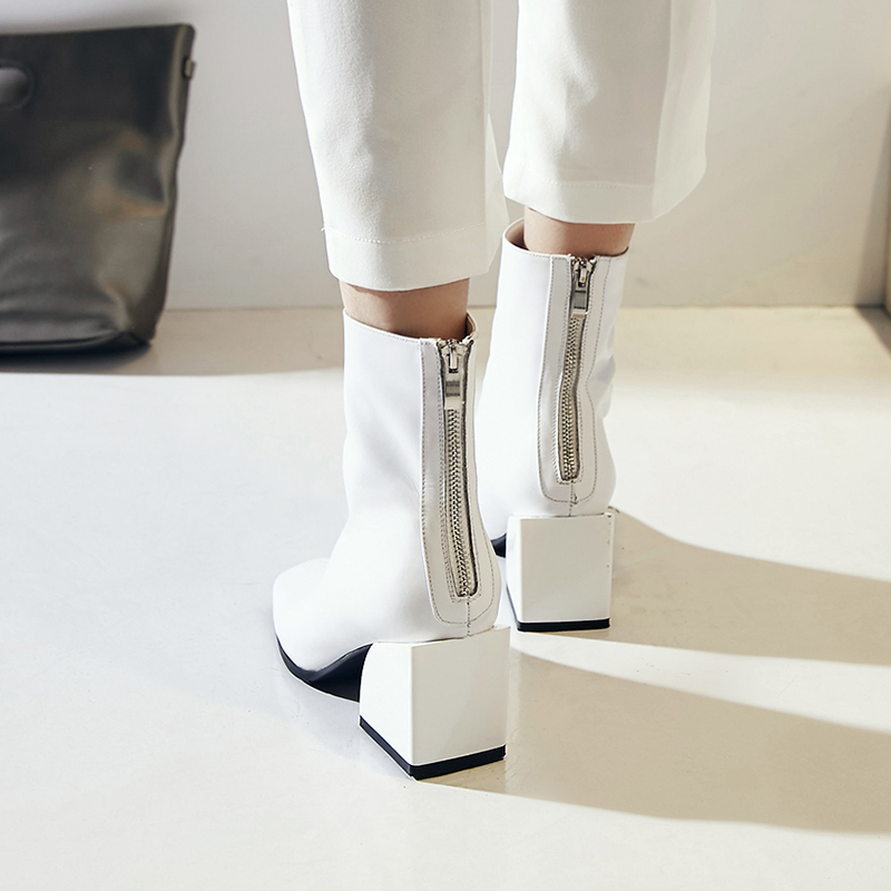Image 5 - EGONERY women shoes newest genuine leather high quality high square heel zipper square toe fashion black and white ankle boots-in Ankle Boots from Shoes