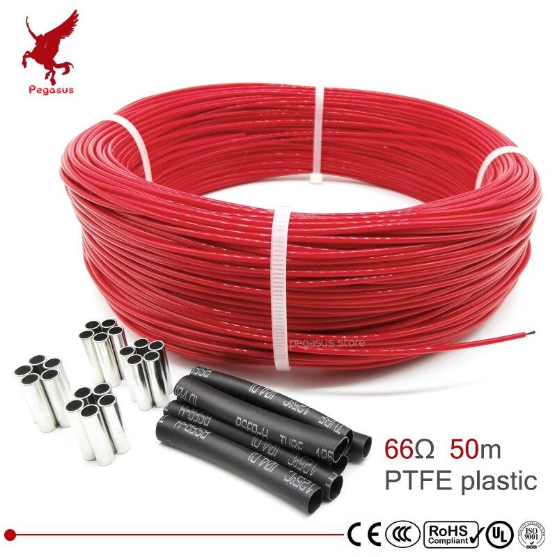 66ohm 50m многоцелевой 6k PTFE углеродное волокно нагревательный кабель 5 V-220 V теплый пол высокое качество инфракрасный нагревательный провод теп...