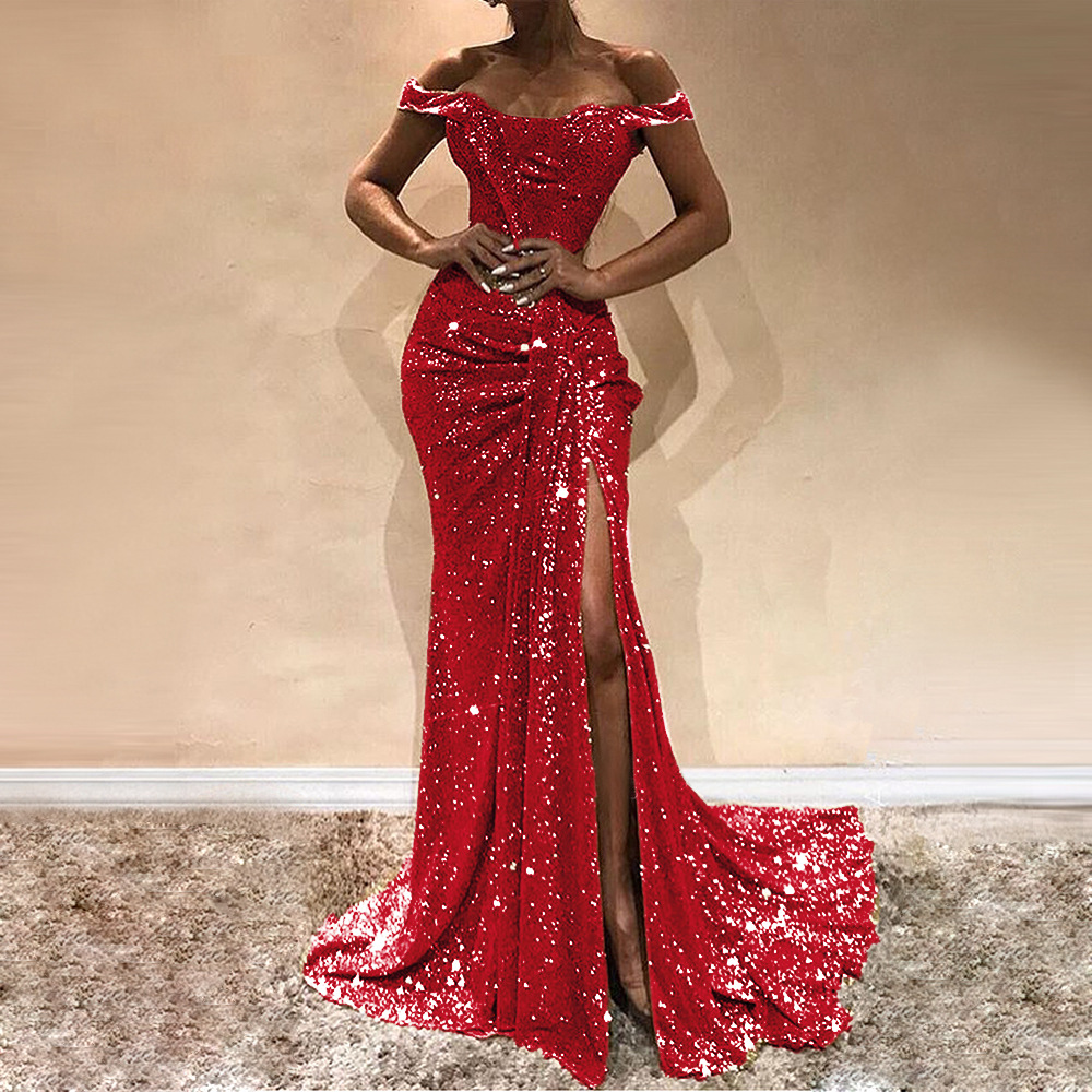Missord 2019 Sexy Slash Neck Sequins Sexy Women Party Dress High Split Backless Elegant Women Maxi Dresses FT19677