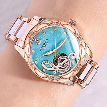 2021 New Designer Mechanical Watches Women Luxury Top Brand Ceramic Stainless Steel Diamond Music Ladies Automatic Wristwatches 6