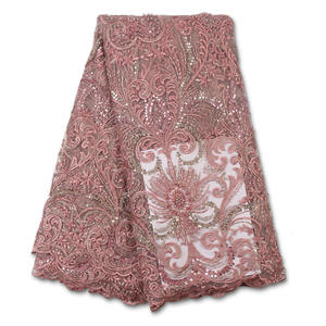 Lace-Fabric Beaded Handmade High-Quality French African Latest for Women Sew YA3619B-6
