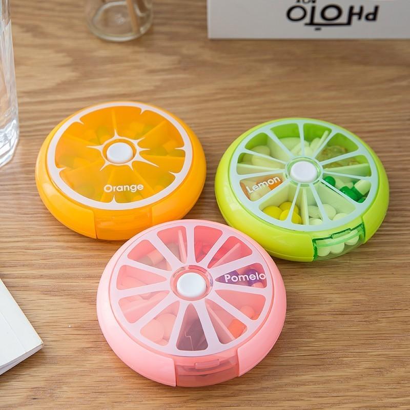 Portable Rotary 7 Bar Pill Box Travel Medicine Dispenser Mini Fruit Color Storage Round Pill Box Storage Box