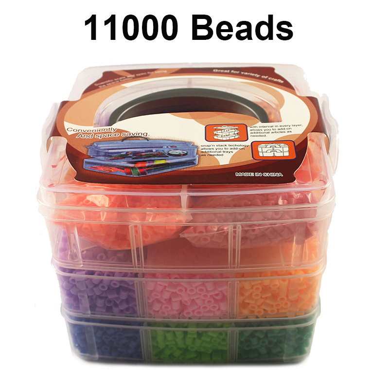 11000PCS 5mm Hama Beads Basket Set 15 Colors With Accessories Perler Beads 3D Puzzle Tangram Jigsaw Kids Toys Gift