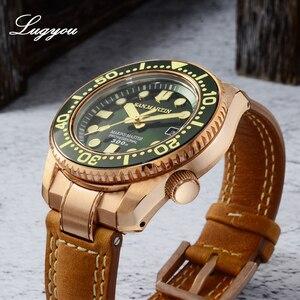 Image 3 - Lugyou san martin bronze mergulho relógio masculino automático moldura cerâmica 300m resistente à água pulseira de couro de safira com peça final sln