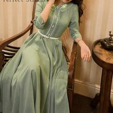 Осень Новое поступление ретро Высокое качество элегантное Питер Пэн воротник Цветочная вышивка три четверти рукав женское длинное платье