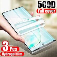 3 películas de hidrogel en el Protector de pantalla para Samsung Galaxy S8 S9 S10 S20 Plus Ultra Protector de pantalla para Samsung Note 8 9 10