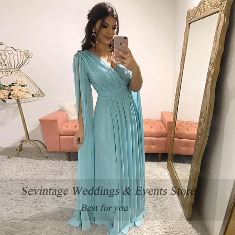 Sevintage elegante v pescoço vestidos de baile plissado com watteau trem chiffon plus size formal festa noite vestido de noche - 2