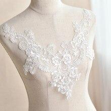 Bordado branco lantejoulas flor laço decote colarinho applique costura tecido de renda diy para vestido de casamento acessórios de roupas
